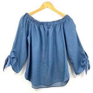 BEACH LUNCH LOUNGE Chambray Jean Top 3/4 Sleeve G8